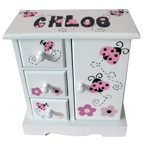Jewelry Box ladybug Pink Brown