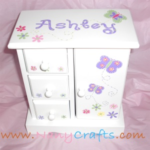 White Jewelry Box Purple butterflies