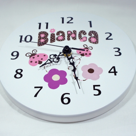 pink and brown ladybugs wall clock for kids
