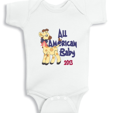All american Baby Giraffe onesie