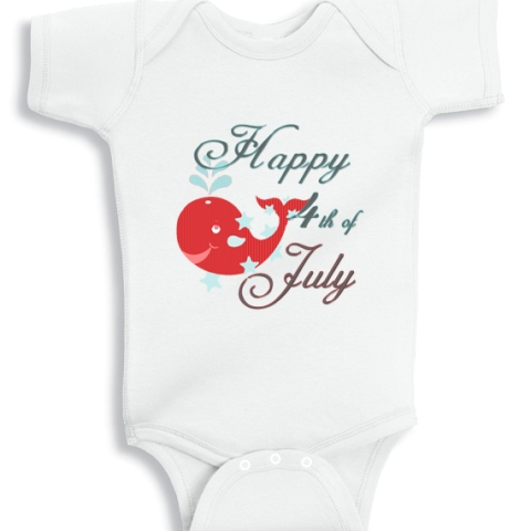 Happy 4th of July Whale patriotic baby onesie