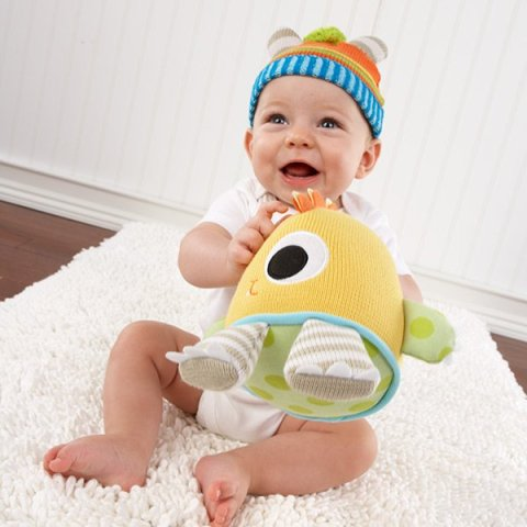 Knit Baby Hat and Plush Toy Gift Set